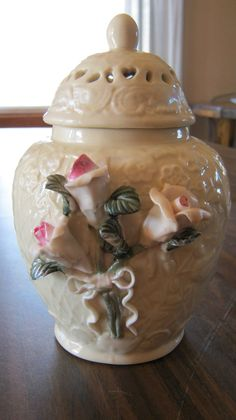 Vintage Ginger Jar with Pink Roses by VintageandSheek on Etsy