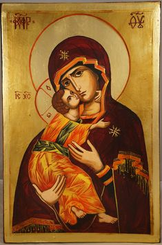 High quality hand-painted Orthodox icon of Theotokos of Vladimir. BlessedMart offers Religious icons in old Byzantine, Greek, Russian and Catholic style. Christian World, Christian Art, Religious Icons, Religious Art, Anima Christi, Paint Icon, Images Of Mary, Image Painting, Russian Orthodox