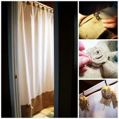 burlap shower curtain - give a plain shower curtain some personality