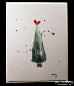 Christmas Tree Watercolor Card Minimalist 2015