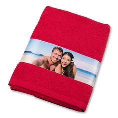 Handtuch mit Fotobordüre rot #Fotogeschenk