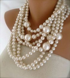 Chunky Statement Pearl Necklace  Chunky by HMbySemraAscioglu