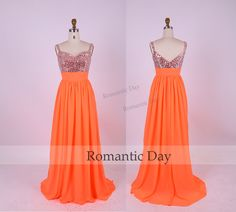 Gorgeous Sequins chiffon Long Prom Dresses/Orange Prom Party Dress/Handmade/evening gown 0328
