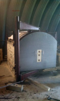 Totally awesome gas kiln door that swings completely out of the way for loading/unloading!