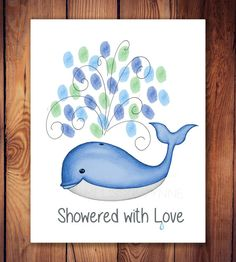 Whale Baby Shower Guest Book Thumbprints  by MelissaWynneDesigns