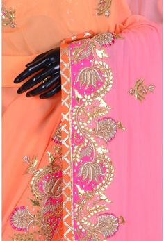 Pure Georgette Embroidery-Shaded Orange & Pink-Gota Work-WG203084 Embroidery Suits Punjabi, Zardozi Embroidery, Embroidery Suits Design, Hand Work Embroidery, Embroidery Dress, Embroidery Designs, Gota Patti Saree, Peach Saree, Drape Sarees