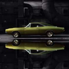 1968 Dodge Charger R/T Black Background Full Reflection  #streetaddicts - @streetaddicts- #webstagram
