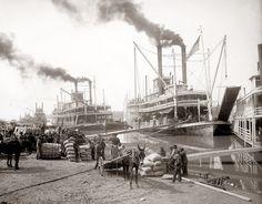 U.S. A Riverboat being loaded in Vicksburg, Mississippi, c. 1900