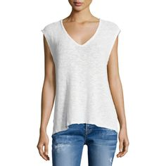 Velvet Harmonia Cap-Sleeve V-Neck Tee ($90) ❤ liked on Polyvore featuring tops, t-shirts, white, white v-neck tees, v neck tee, slim fit v neck t shirt, slim t shirt and white top