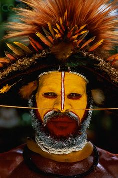Huli Tribesman in Traditional Costume