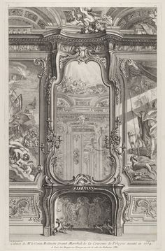 Fireplace in the study in the Bieliński Palace in Warsaw by Pierre Chenu after Juste Aurèle Meissonnier, ca. 1742-1748 (PD-art/old), The Metropolitan Museum of Art, Meissonnier created the interior with painted panels representing Zephyr and Flora and Venus and Adonis, pier-glasses and a painted ceiling decorated with the chariot of the Sun, Muses and groups of emblematic of the Arts and Sciences in 1734 for Franciszek Bieliński