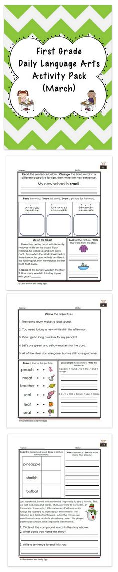 First Grade Daily Language Arts Activity Pack (March) {Common Core Aligned} is filled with fun, engaging, and educational worksheets. We like to use this as a morning warm-up in class, with one sheet each day, making this pack last for a month. This pack could also be used as homework for your class. Worksheets include phonics, vocabulary, grammar/syntax, fluency, rhyming words, reading comprehension, and writing practice.