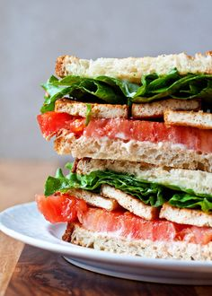 """Tofu, quickly seared and seasoned, is the """"meat"""" of these hearty TLTs - Smoky Tofu, Lettuce, and Tomato Sandwiches. With options for meat-eaters, gluten-free, or vegans!"""