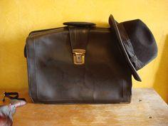 Vintage funny briefcase mens brown large  от OldMoscowVintage