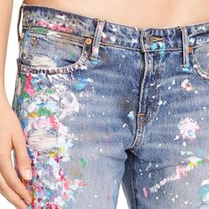 astor boyfriend jean (ralph lauren) paint spatters and distressing