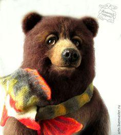 Купить медведь валяный - коричневый, мишка, медведь валяный, медведь из шерсти, медведь войлочный