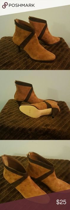 Suede ankle boots Beautiful cognac suede ankle boots, never worn. They have an almond shaped toe and 3.50 inch heel.  Comfortable enough to wear all day. Perfect with dress slacks or jeans. No  damage and from a smoke-free home. Make me an offer! Vaneli Shoes Ankle Boots & Booties