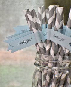 boy straws with labels..perfect for a boy baby shower or boy's birthday party - love the gray and soft blue together!