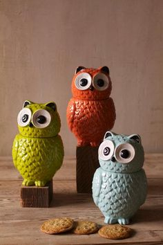 ceramic owl canisters