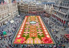 "Every two years in August, an enormous ""flower carpet"" is set up in the Grand Place for a few days."