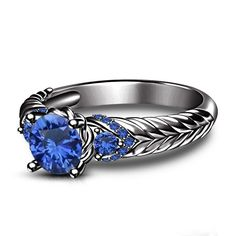 New 925 Sterling Silver 1.00 CT Blue Sapphire Round Cut Lovely Engagement Ring 5 #SolitairewithAccents