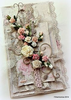 Filharmonica creative world Shabby Chic Karten, Shabby Chic Cards, Mixed Media Cards, Beautiful Handmade Cards, Heartfelt Creations, Vintage Crafts, Pretty Cards, Card Tags, Flower Cards