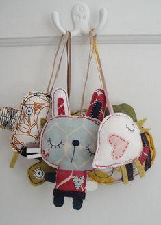 Adornos de animales hechos con retazos de tela - Animal ornaments made with fabric scraps