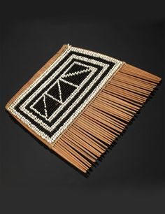 Africa | Comb from Malawi; wood and glass beads | Early 20th century