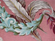 Key West PINK & Caribbean AQUA 30's 40's NVR USD VTG Barkcloth Fabric Panel