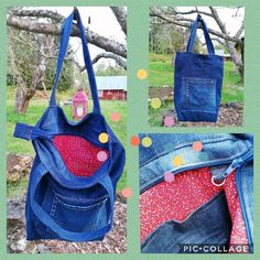 Recycled denim bag. Old jeans into bag #oldjeans #oldjeansintobag O Bag, Old Jeans, Recycled Denim, Denim Bag, Handicraft, Recycling, Projects, Fashion, Jean Bag