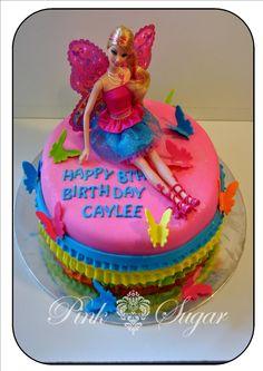 Pink Sugar: Barbie Fairy Cake (Barbie on top) Fairy Birthday Cake, Barbie Birthday Cake, Birthday Cake Girls, Barbie Fairy Cake, Barbie Cake, Barbie Party, Barbie Dress, Barbie Clothes, Frozen Doll Cake
