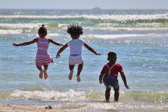 Children, Hop, South Africa, Water, Inject, Beach, Sea