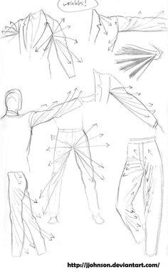 Karakalem kıyafet kıvrımları