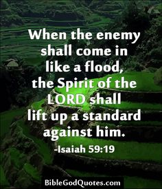 When the enemy shall come in like a flood, the Spirit of the LORD shall lift up a standard against him. -Isaiah 59:19  BibleGodQuotes.com