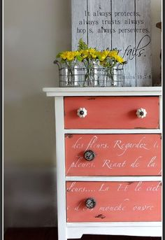 dresser rescue, painted furniture, I used MMS in Apron Strings for the drawers and a creamy white for the body