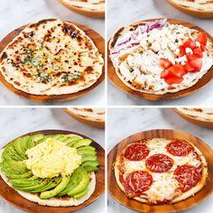 2 ingredient flatbread - Greek yogurt & self rising flour Tasty Videos, Food Videos, Recipe Videos, Healthy Snacks, Healthy Eating, Healthy Recipes, Flatbread Recipes, Food For Thought, Food Hacks