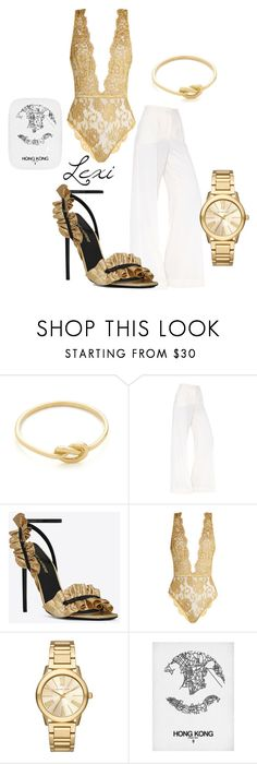 """""""Golden in Hong Kong"""" by lexiperez599 ❤ liked on Polyvore featuring Ariel Gordon, Dolce&Gabbana, Yves Saint Laurent, Coco de Mer and Michael Kors"""
