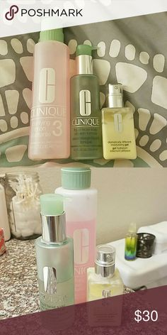 Clinique clarifying set Cleanser, toner and moisturizer all more than halfway full! Clinique Makeup