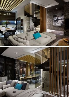 Stepping inside this modern penthouse apartment, there's a living room with dark brick walls, wood floors and a light colored couch. #ModernLivingRoom #ModernInteriorDesign