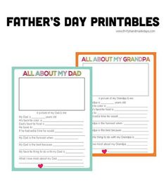 Free Printable Father's Day fun sheet for the kids to fill in! Click through to see more choices