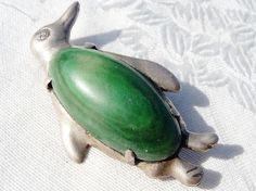 Vintage sterling  Mexican penguin brooch with malachite belly