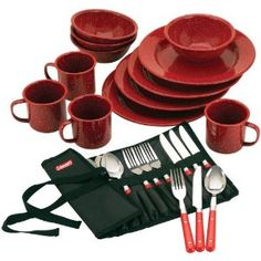 Coleman 24-piece enamelware dinner and cutlery set - $28.66 on amazon.com #kathrynswishlist