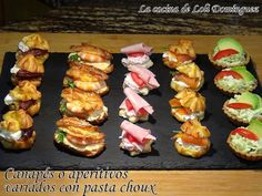 Canapés o aperitivos variados con pasta choux recipe main photo Pasta Dinner Recipes, Appetizer Recipes, Pasta Choux Receta, Chicken Bacon Spinach Pasta, Pasta Types, Healthy Vegetable Recipes, Canapes, Appetisers, Appetizers For Party