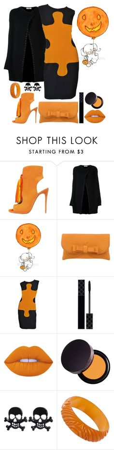 """""""Pumpkin Spice"""" by loves-elephants ❤ liked on Polyvore featuring Valentino, La Fille Des Fleurs, Moschino, Gucci, Lime Crime and Laura Mercier"""