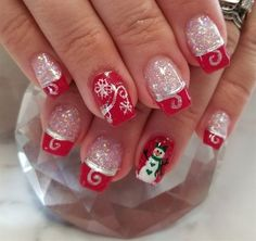 Red nail designs with glitter unique glitter acrylic with gel polish and hand painted designs inspired by Christmas Gel Nails, Christmas Nail Designs, Holiday Nails, Red Nail Designs, Acrylic Nail Designs, Art Designs, Cute Nail Art, Cute Nails, Red Nails