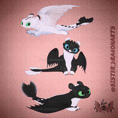 Baby Night Light Fury dragons of Toothless and Light Fury Httyd Dragons, Dreamworks Dragons, Cute Dragons, How To Train Dragon, How To Train Your, Disney Kunst, Disney Art, Hicks Und Astrid, Night Fury Dragon