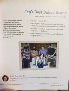 Jep's Baked Beans. Miss Kay's Duck Dynasty recipe book.