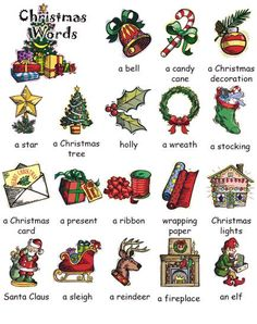 English Christmas words