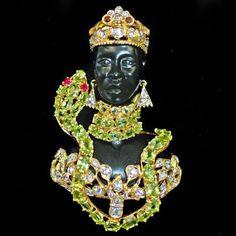 Blackamoor wrapped by Peridot snake Pin/Brooch