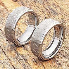 Laser Engraved Celtic Knot Design over Flat Brushed Center High Polished Comfort Fit Tungsten Carbide Anniversary Ring Mens 8mm Beveled Edge Wedding Band